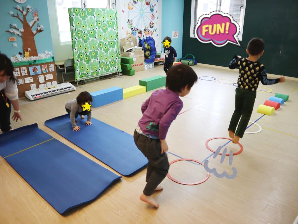 渡って、転がって、跳んで・・・サーキットトレーニングは忙しいのです(^_-)